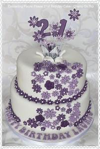Cascading Purple Flowers 21st Birthday Cake | 21st ideas ...