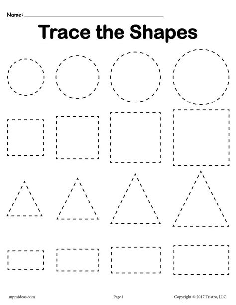 3 free tracing shapes worksheets smallest to largest