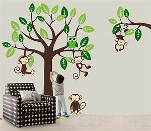vinyl wall decal nursery jungle tree wall decals monkey With cute owl wall decals for nursery