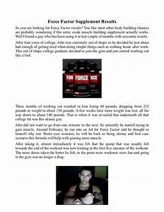 Force Factor Supplements Results
