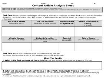 Customizable Article Analysis Worksheetgraphic Organizer By D3 Learning
