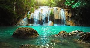 Erawan Waterfall In Thailand Peaceful Natural Background