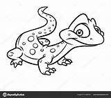 Lizard Coloring Cartoon Little Illustration Isolated Reptile Depositphotos sketch template