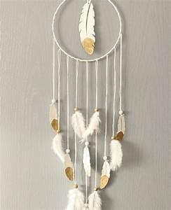 Attrape Reve Blanc : superbe attrape r ve plume blanc et or ateliernat ~ Teatrodelosmanantiales.com Idées de Décoration