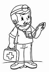 Doctor Coloring Nurse Kid Printable sketch template