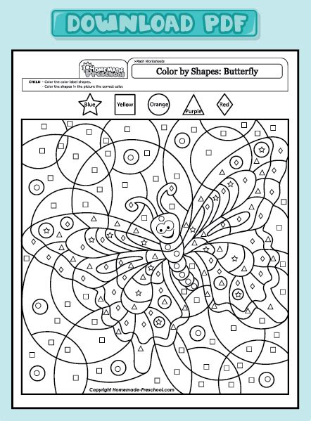 Coloring Pages Math Worksheets Color By Shapes Butterfly Color By Shapes Butterfly, Coloring