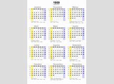 Calendário 1959 em png pronto para você utilizar webcid