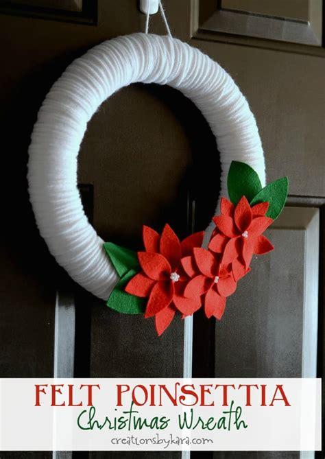 felt poinsettia yarn wreath