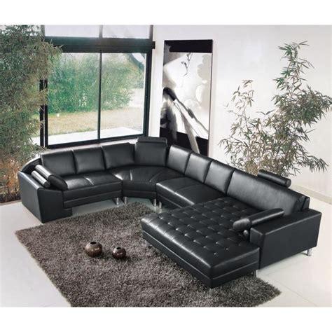 grand canapé d angle cuir grand canapé d 39 angle panoramique en cuir noir king achat