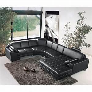 grand canape d39angle panoramique en cuir noir king achat With grand canapé d angle noir