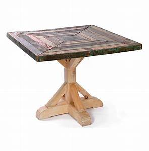 Reclaimed, Painted, Rustic, Wood, Square, Dining, Table, 38, U0026quot, D