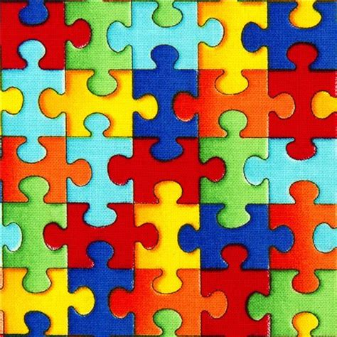 designer fabric  colourful jigsaw puzzle pieces usa