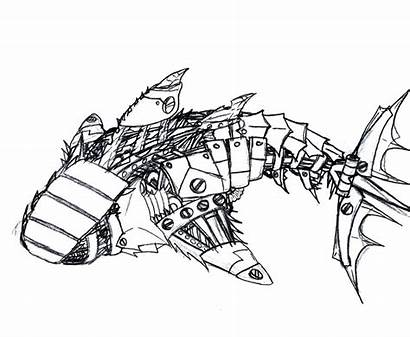 Shark Robot Drawing Coloring Pages Realistic Drawings