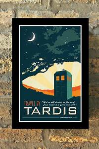 Tardis doctor who travel poster vintage print geekery wall art
