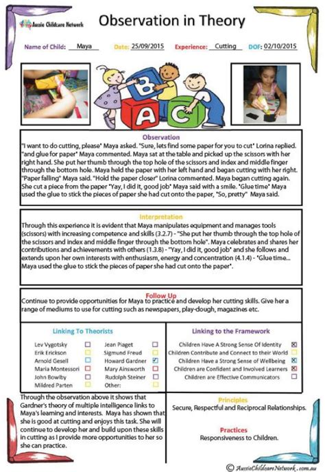 observation  theory template aussie childcare network