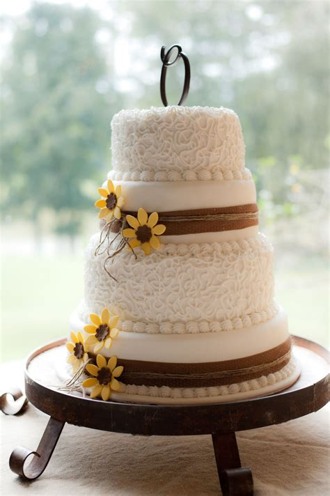 sunflower  burlap wedding cake rustic wedding cake
