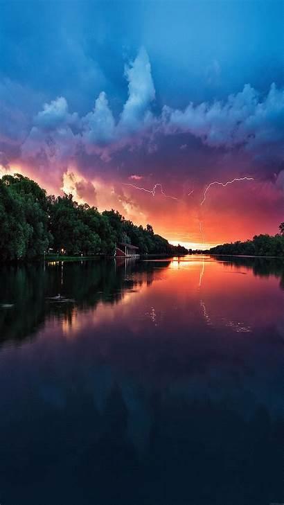 Nature River Lake Reflected Lightening Sea Mc62