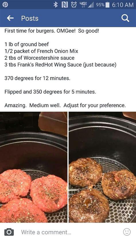 air fryer recipes hamburgers hamburger cooking frier ground oven airfryer beef fry keto cheat sheet printable dinner vegan power xl