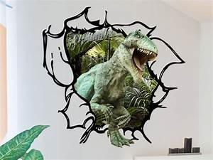 Dinosaur wall decal tyrannosaurus rex tearing through the for Nice ideas dinosaur decals for walls