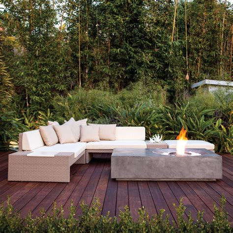 Fire pit table with wicker base. Brown Jordan Fires // Equinox Fire Pit Coffee Table ...