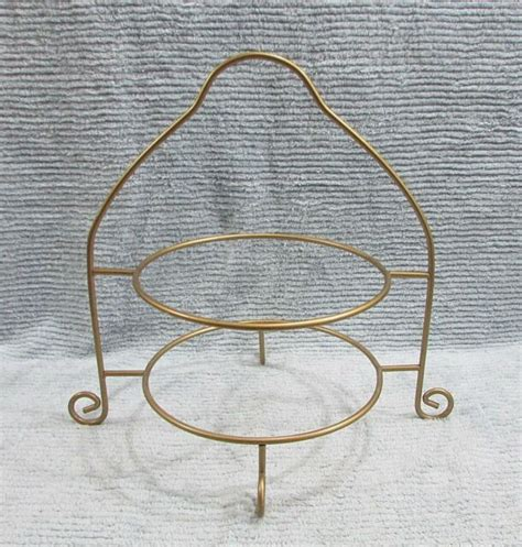 tier gold tone steel rod pie plate cooling display rack stand  sh ebay
