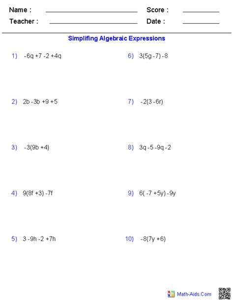 simplifying algebra worksheet and answers pre algebra worksheets algebraic expressions worksheets