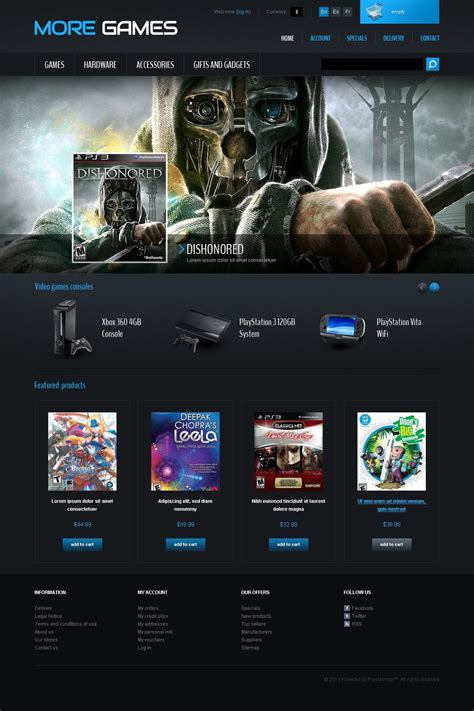 games consoles prestashop theme