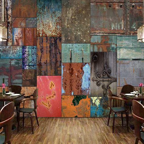 custom wallpaper retro iron sheet european style wall