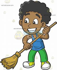 A Black Boy Sweeping The Floor Cartoon Clipart - Vector Toons