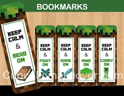 Minecraft Bookmark Template by 8 Bit Printable Minecraft Bookmarks Instant