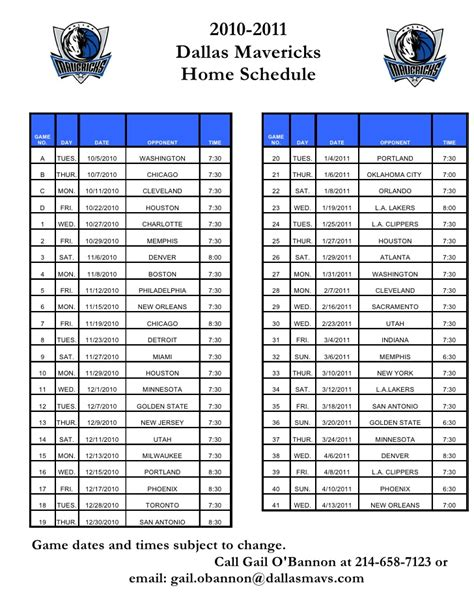 mavs home schedule