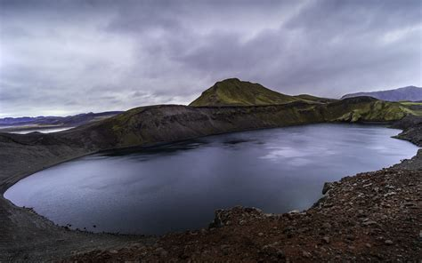 iceland hnausapollur volcanic craters filled  water