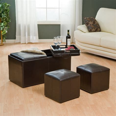 leather ottoman with tray table with storage and 2