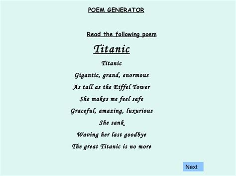Poems Generator Poem Generator