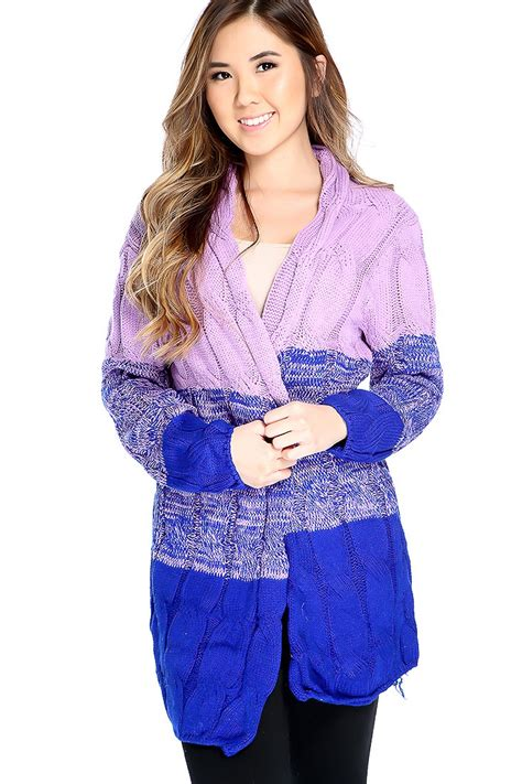lilac sweater lilac royal blue sleeve open front knitted oversized