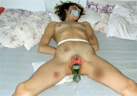 Free Beer Bottle In Her Pussy