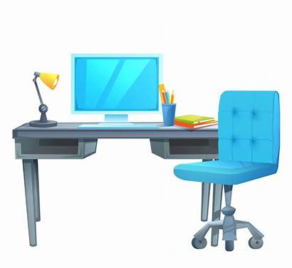 Desk Computer Cartoon Illustration Books Lamp Vector