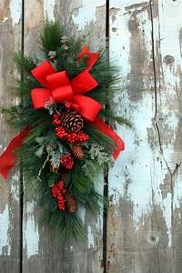 Items, Similar, To, Christmas, Swag, Red, Bow, Mixed, Pine, Pine, Cones, On, Etsy