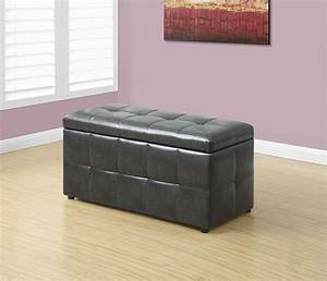 Charcoal grey leather storage ottoman 8987 monarch for Gray leather storage ottoman