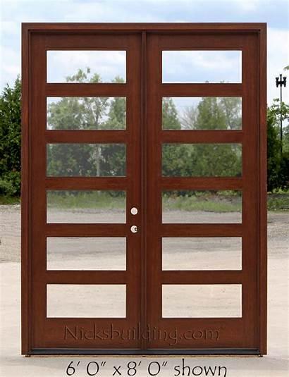 Doors Double Exterior Glass Clear Craftsman Door