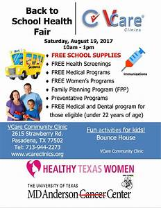 Back To School Health Fair Free | V Care Clinics | Houston ...