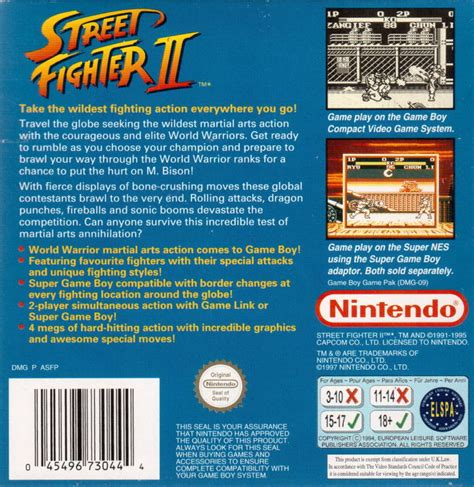 Street Fighter Ii 1995 Game Boy Box Cover Art Mobygames
