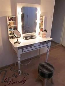 Miroir Pour Coiffeuse : diy pour une coiffeuse de star avec miroir lumineux vernitheque et casiers de rangement ~ Teatrodelosmanantiales.com Idées de Décoration