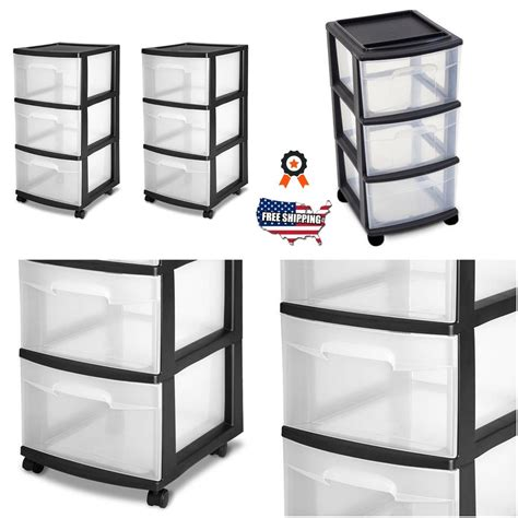 Drawer Containers by 3 Drawer Organizer Cart Rolling Bin Set 2 Black Plastic