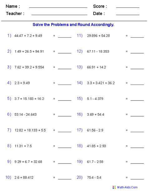adding and subtracting with significant digits worksheets