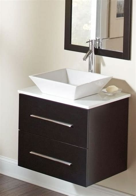 Floating Bathroom Sink by The Floating Vanity And Square Vessel Sink Give This