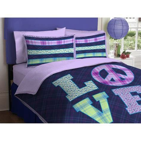 girl purple green love peace sign twin comforter set 2pc