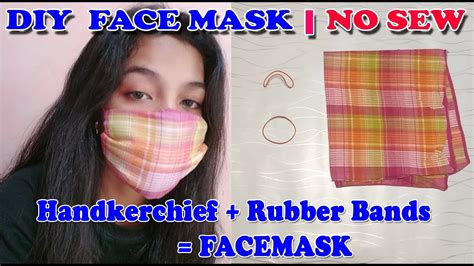 sew diy face mask   handkerchief  rubber bands