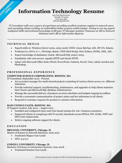 Information Technology Resume Templates by Information Technology It Resume Sle Resume Companion