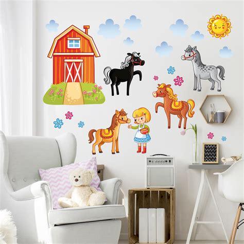 Wandtattoo Kinderzimmer At by Wandtattoo Kinderzimmer Bauernhof Set Mit Pferden